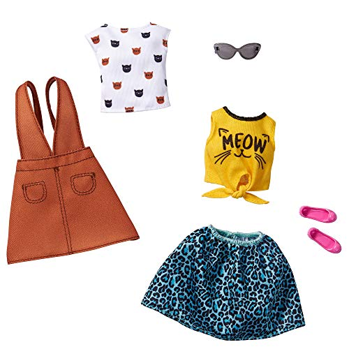 Barbie Fashions 2-Pack Clothing Set, 2 Outfits Doll Include White Tee with Kitty Print, Yellow Meow Tie Shirt, Orange Jumper, Blue Animal-Print Skirt & 2 Accessories