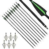MILAEM 30' Flechas de Carbono Spine 500 Flechas de Caza Flecha de orientación con Punta reemplazable para Arco recurvo Arco Compuesto Caza al Aire Libre (Verde + Boardheads 2)