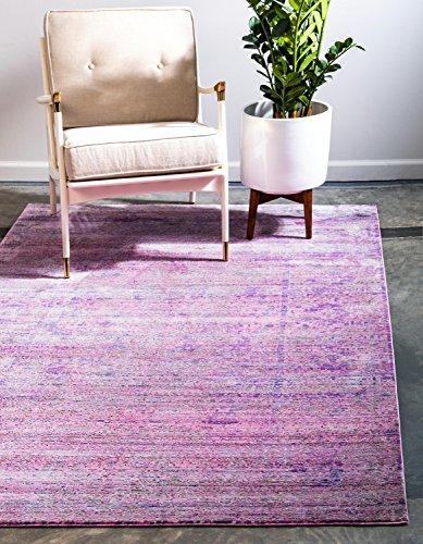 Unique Loom Traditionnel Aria Contemporain Moderne Abstrait Zone Tapis, Polyester, Violet, 6 x 9