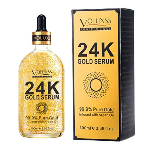 Pure 24K Gold Serum for Face - Best Anti Aging Face Serum Gold for Women Infused Hyaluronic Acid & Argan Oil- Moisturizing,Lifting,Brightening | Anti Wrinkles,Fine Line & Acne Scar 3.38 fl.oz
