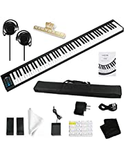 Carina 電子ピアノ 88鍵盤 2021年3月最新版 コンパクト 軽量 スリムデザイン ワイヤレスMIDI対応 ペダル ソフトケース 譜面台 練習用イヤホン 鍵盤シール付き PL保険加入済み