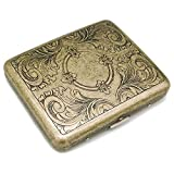Cigarette Case Box Metal Retro 85mm King Size (18-20 Capacity) Sturdy Double Sided Spring Clip Open Pocket Holder Vintage Golden