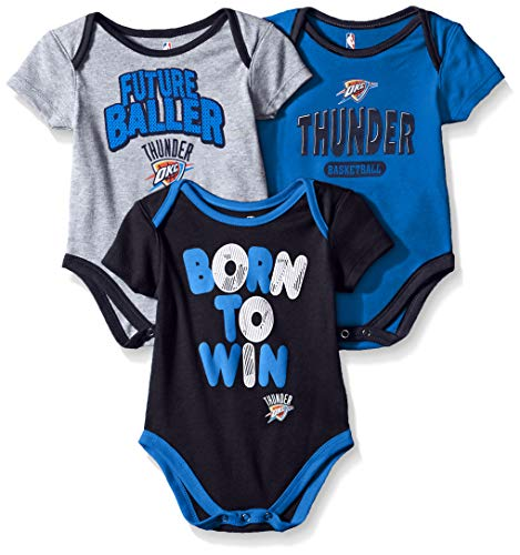 NBA by Outerstuff NBA Newborn & Infant Oklahoma City Thunder Little Fan 3pc Bodysuit Set, Heather Grey, 3-6 Months