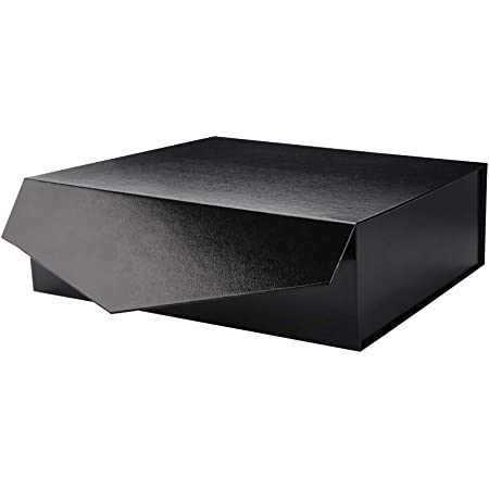PACKHOME Gift Box 14x9.5x4.5 Inches, Large Gift Box with Lid, Groomsman box, Sturdy Storage Box, Collapsible Gift Box with Magnetic Closure (Glossy Black with Embossing)