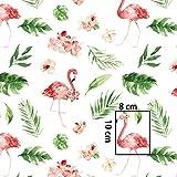 Stoffschreinerei 1m Baumwollstoff (Flamingos mit Blüten)