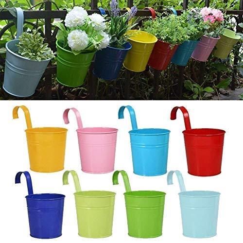 RIOGOO Vasi di Fiori, Giardino Vasi Appesi Benne Hanging Planter, Fiore del Metallo Vasi di Piante Vasi Home Decor - Gancio Rimovibile (8 PCS)