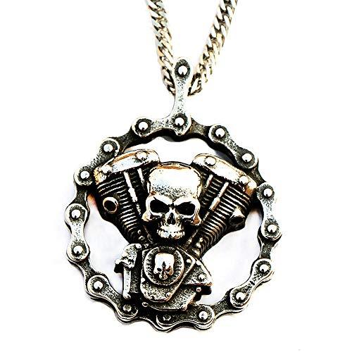 YDMSGSB Colgante Collar para Hombre Retro Punk Heavy Metal cráneo Ace