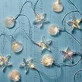 Lights4fun, Inc. 20 Iridescent Seashell & Starfish Battery Operated Indoor & Outdoor String Lights