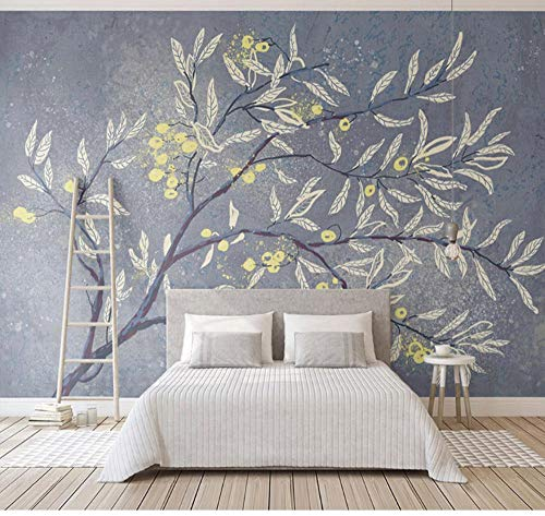 Suwhao 3D-fotopapier mode, bloemen, bomen, grote muur, slaapkamer, woonkamer, kast, wand, decoratie, waterdicht, behang 200x140cm