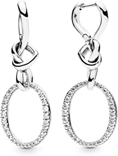 Knotted Hearts 925 Sterling Silver Dangles Earrings - 298110CZ