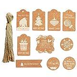 Etichette Regalo di Natale Kraft,Etichette di Carta Kraft 100 Pezzi con cordicella di Iuta per Confezione Regalo, 10 Disegni stampabili Christma per Regali di Natale Fai-da-Te Etichette