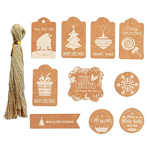 Etiquetas de regalo Kraft de Navidad,etiquetas de papel Kraft de 100 piezas con hilo de yute para envoltura de regalo,10 diseños imprimibles de Christma para bolsas de etiquetas de envoltura