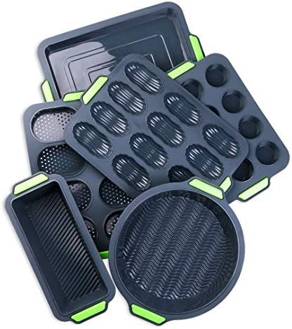 Non stick Bake Molds Silicone Bakeware Set of 6 1 Silicone Muffin Pan 12 Cup 1 Madeleine Pan product image