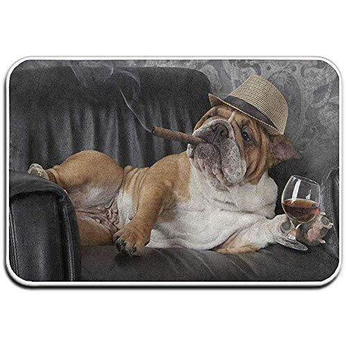 KL Decor Welkom Deurmat, Binnen Entree Leuke Bulldog Met Sigaren En Glas Van Cognac Vloermatten Voor Schoen Schraper Tapijt Outdoor Badkamer Tapijt 40x60 CM