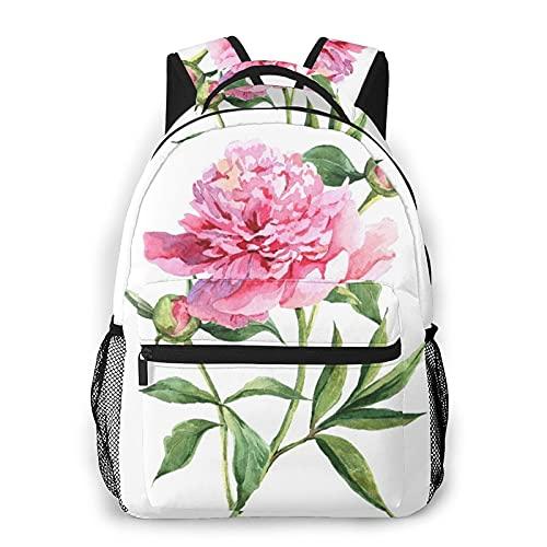 MAYBELOST Mochila casual de doble hombro,Peonías rosas, acuarela botánica,Mochila ligera y duradera Mochila deportiva para viajes de negocios Mochila para adolescentes adultos