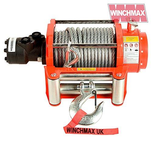 Winchmax Hydraulische Seilwinde, 15.000 lb, orange, Stahlseil, nur Winde