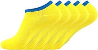 5pcs calcetines inferiores amarillos de los hombres calcetines invisibles de Corea