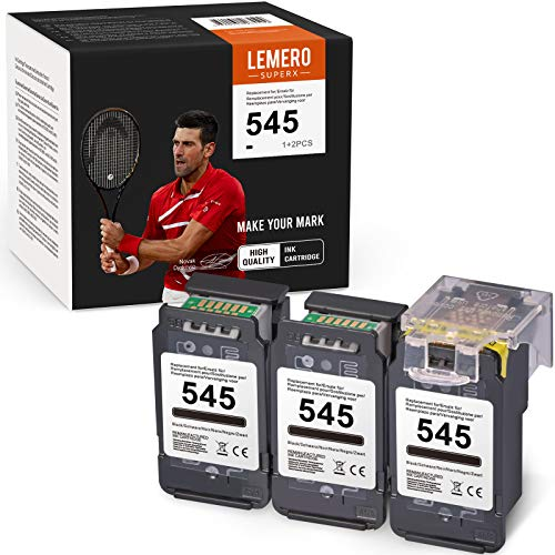 3 cartucce LEMERO SUPERX rigenerate compatibili per stampanti PG-545 545XL per Canon PIXMA MG2450 MG2550 MG2950 IP2850