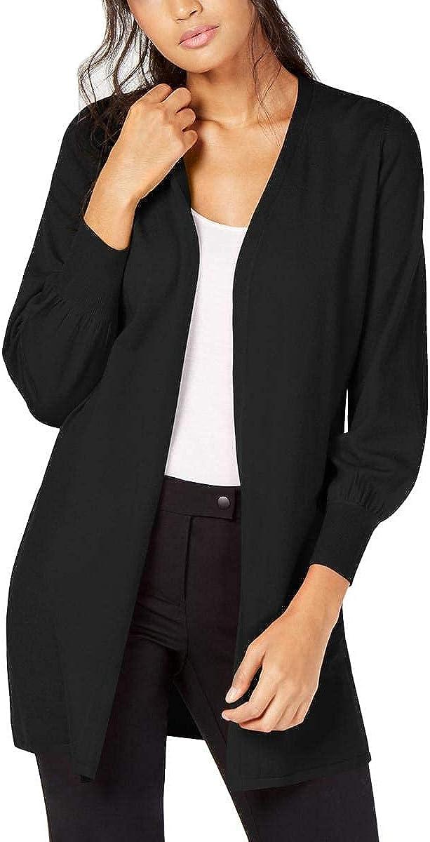 Alfani Womens Ribbed Bishop Sleeves Cardigan Sweater