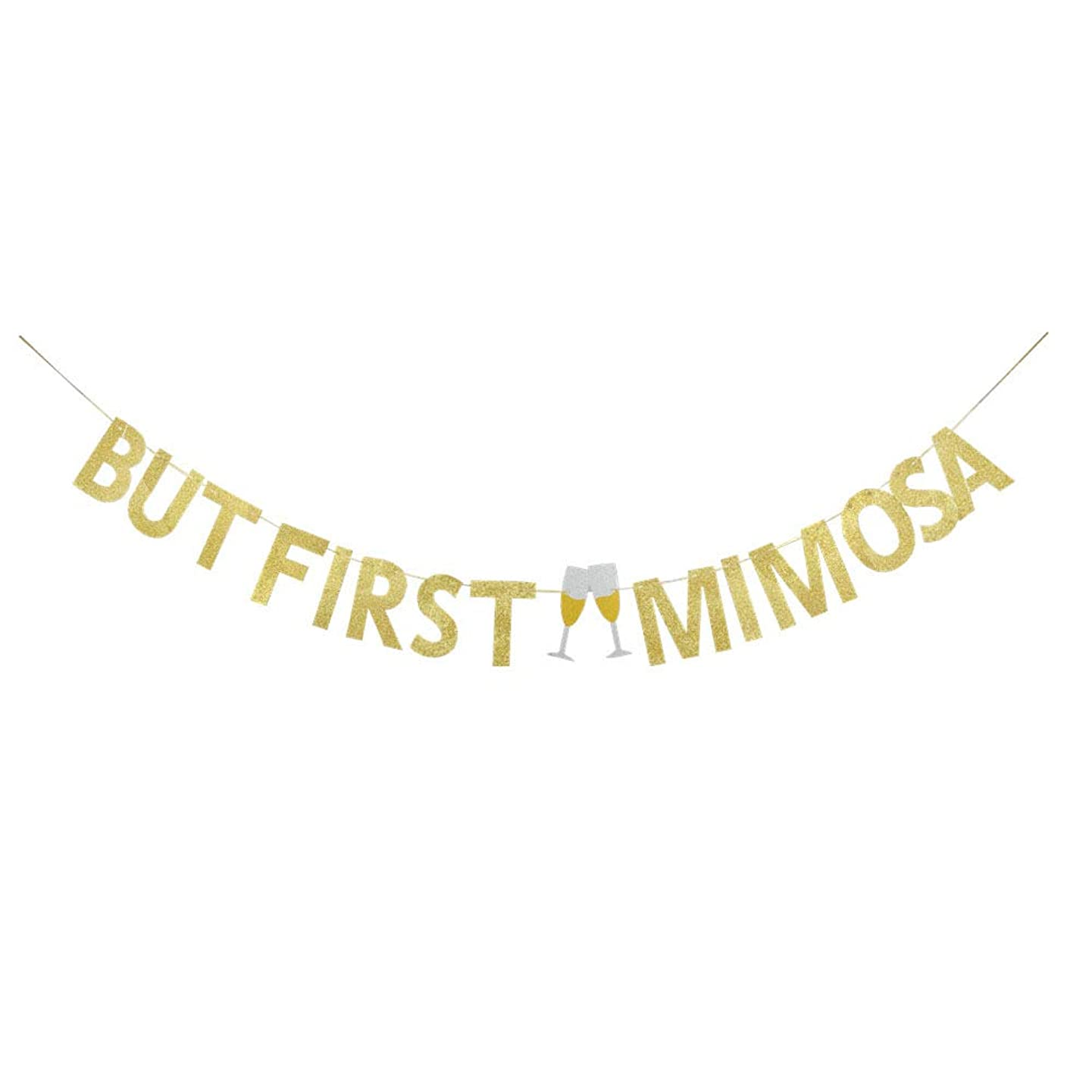 But First Mimosa Gold Glitter Banner for Bridal Shower Bubbly Bar Wedding Bachelorette Celebrating Bunting Banner Party Decorations