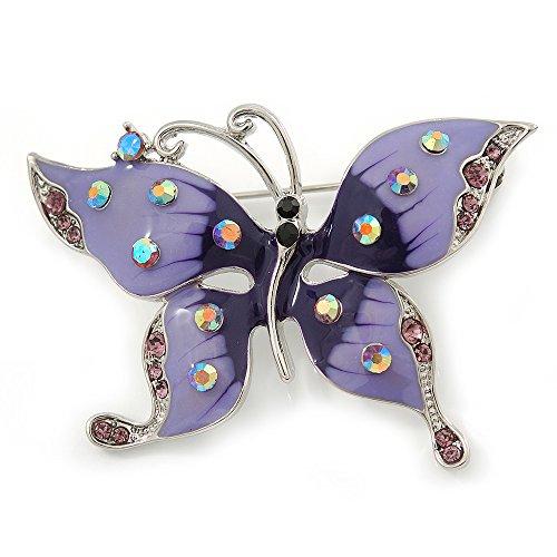 Avalaya Purple & Violet Enamel Crystal Butterfly Brooch in Rhodium Plating - 55mm W