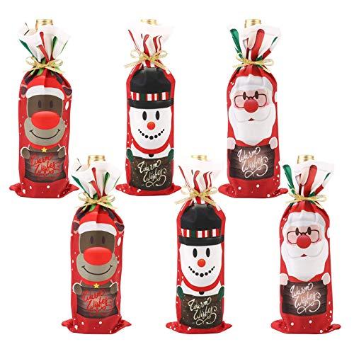 KY-Tech 6 bolsas de botellas de vino reutilizables con cordones de Navidad, diseño de reno, muñeco de nieve, fundas decorativas para botellas de vino en Navidad, cenas y fiestas