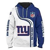 SryWj Felpa con Cappuccio NFL New York Giants, Team Supporter, Pullover Moda con Stampa 3D e Motivo tintura, Abbigliamento Adatto per Uomo e Donna