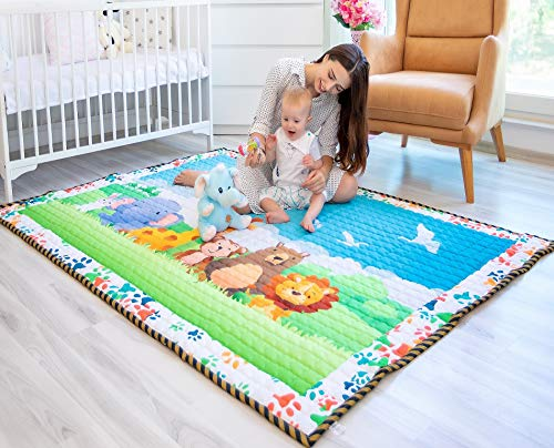 Moiré Baby A to Z Animal Learning Play Mat Extra Large 76 in. x 58 Padded...