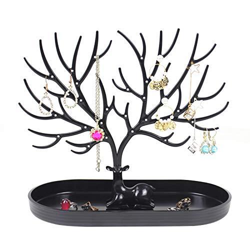 Portagioie decorativo per collana, con corna di renna, per orecchini, bracciali, gioielli, albero di Natale, espositore per gioielli, regalo di compleanno per donne e ragazze e fidanzate Nero Taglia