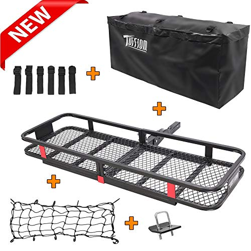 "TUFFIOM Upgraded Hitch Mount Cargo Carrier (60""x20""x6"") w/ Bag, Net & Stabilizer, Hauling 500 Lbs Capacity Steel Basket, Folding Shank Preserve Space"