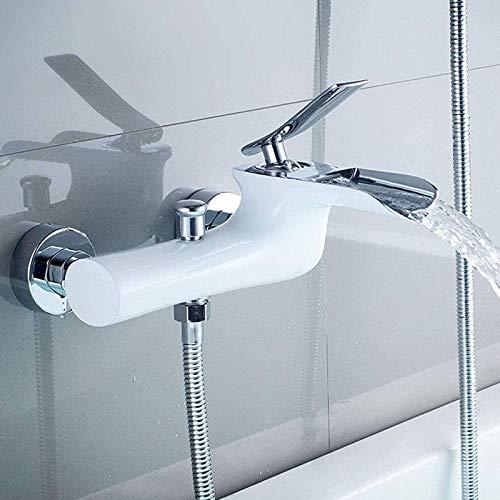 Badewannenarmatur mit Handbrause, Wasserfall Mischbatterie Badewanne, Messing Einhebel Badewanne Amaturen Wandhalterung Duscharmaturen, Weißes Chrom