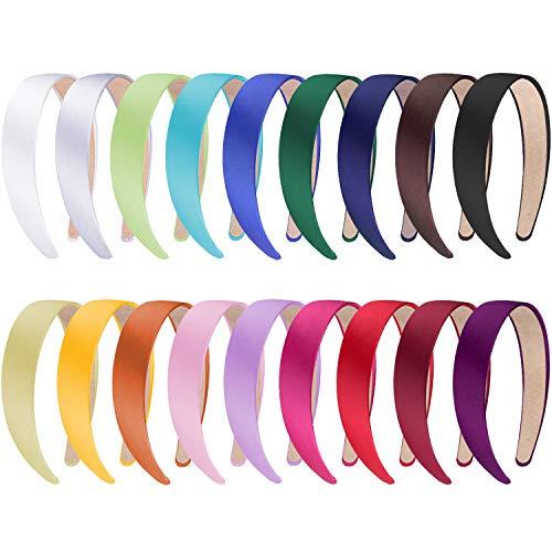 SIQUK 18 Stück Haarreifen Damen Breit Satin Stirnbänder Haarreifen für Damen Mädchen 18 Farben