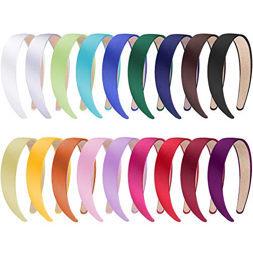 SIQUK 18 Pieces Satin Headbands 1 Inch Wide Non-slip Headband Colorful DIY Headbands for Women and Girls, 18 Colors