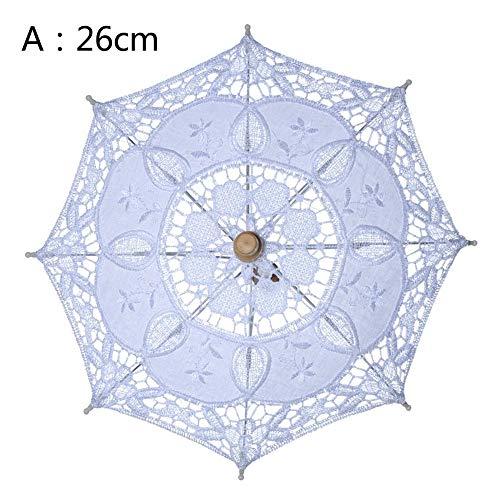Urben Life Elegant kant zonnescherm, houten handvat geborduurd vintage parasol voor bruiloft afsluitingen banket van perfect accessoire geschikt voor bruid dames