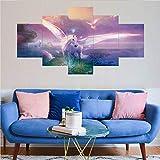 kuanmais 5 Panel Leinwand Wandkunst Pegasus Poster Hd