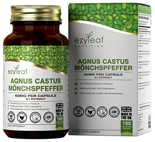 Ezyleaf Vitex Agnus Castus 60mg | 180 Capsulas Veganas de Sauzgatillo de Alta Potencia | Apoya la Salud de las Mujeres | Sin Gluten, OGM, Alergenos o Lacteos