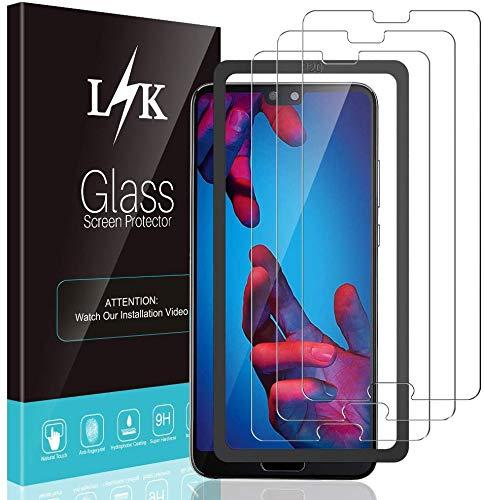 L K 3 Stücke Schutzfolie für Huawei P20, Huawei P20 Panzerglas [9H Härte] [Bubble Free] [Hüllenfreundlich] [Einfache Installation] HD Klar Gehärtetem Glas Displayschutzfolie