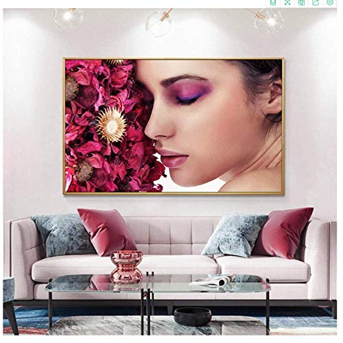 Canvas Art Walls Painting 70x90cm no frame Color eye shadow Sexy Lips Oil Painting Beauty Makeup Art Picture Posters and Prints Wall Art Picture for Living Rom 1