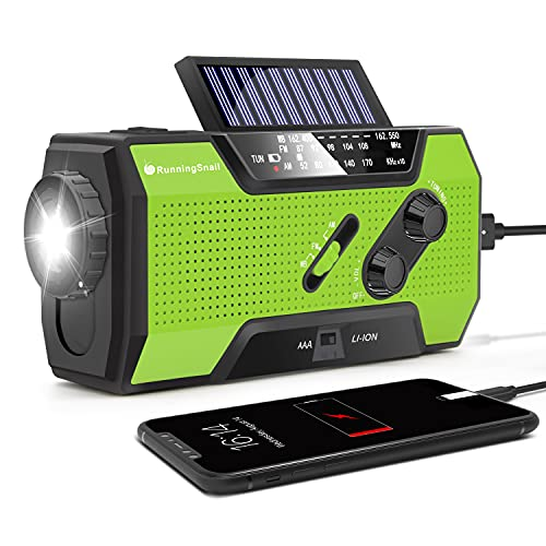 RunningSnail Emergency Weather Radio, AM/FM/NOAA Hand Crank Solar Radio with SOS Alarm, Battery Operated, LED Flashlight & Reading Lamping, 2000mAh Power Bank for Emergency Phone Charge