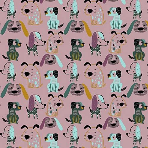 Hans-Textil-Shop Stoff Meterware Sweet Dogs Soft Sweat - 1 Meter, Bio, Schadstoffgeprüft, Deko, Kleidung, Für Kinder (Altrosa)