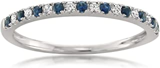 14k White Gold Round Diamond & Blue Sapphire Micro-Pave Bridal Wedding Band Ring (1/4 cttw, H-I, VS2-SI1)