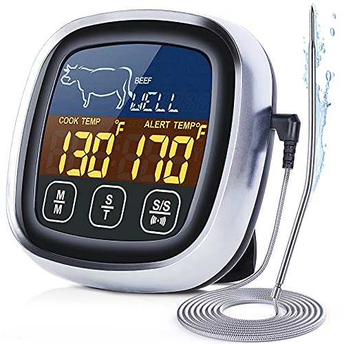 Digital Meat Thermometer for Cooking, 2021 Upgraded Touchscreen LCD Large Display Instant Read Food Thermometer with Backlight, Long Probe, Kitchen Timer, Cooking Thermometer for Oven, BBQ
