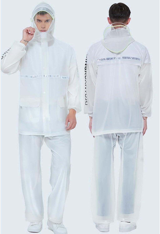 FHGH 2PCS Adult Split Raincoat, PVC Reflective Raincoat and Rain Pants Suit, Detachable Brim Design, for Fishing/Cycling,E,XXLarge