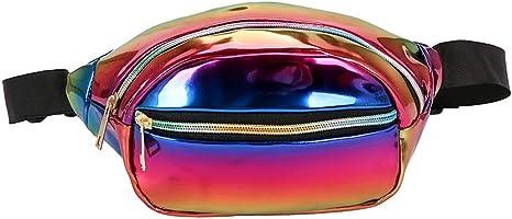 Morbuy Impermeables Plegable Brillante Holograma Bolsas de Cintura Bolsillos de Cremallera Correa Ajustable para Running Fiestas Mujeres de Moda Ri/ñoneras Deportivas