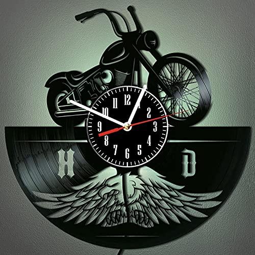 Reloj de pared de vinilo para motocicleta, 30 cm, 7 colores, LED, con control remoto, luces de Halloween, decoración del hogar, regalos para hombres (A1-con LED)