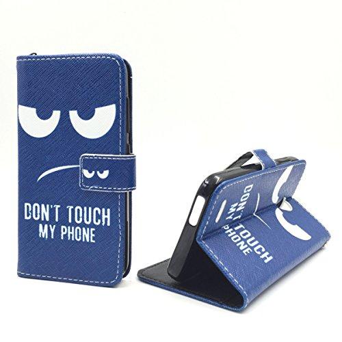 König Design Handyhülle Kompatibel mit Vodafone Smart Prime 6 Handytasche Schutzhülle Tasche Flip Case mit Kreditkartenfächern - Don't Touch My Phone Weiß Dunkelblau
