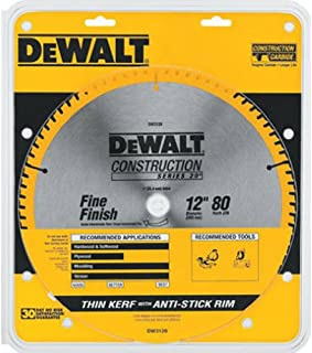DEWALT 12-Inch Miter Saw Blade, ATB, Thin Kerf, Crosscutting,  1-Inch Arbor, 80-Tooth (DW3128)