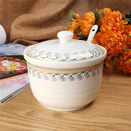 gewürzständer küchenregal Keramik Gewürzglas mit Deckel und Löffel Gewürzkasten Küche Salzstreuer MSG Zuckerglas Pfeffer Flasche-5,2 Zoll Phnom Penh (kann 570 Gramm Salz halten)