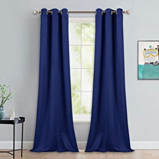 NICETOWN Window Drapes Long Curtains - Living Room Panels Grommet Top Window Treatment for Hall & Guest Room (Dark Blue, 42 inches Wide x 90 inches Long, 2 Pieces)