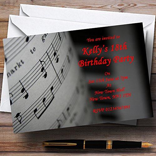Party & Disco nodigt Piano en muziek uit zwart rood gepersonaliseerde feestuitnodigingen met enveloppen - elke aangepaste tekst voor elke gelegenheid 50 Cards & Envelopes Zwart